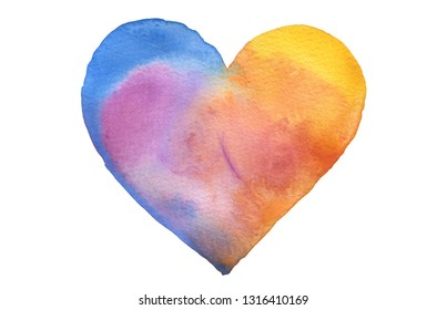 Watercolor heart shape. Abstract painting background. Isolate on white.