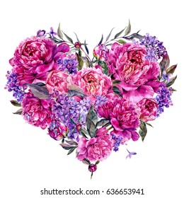 Watercolor Heart Shaped Floral Decoration made of Fuchsia Colored Peonies, Lilac and Foliage. Vintage Style Wedding Decoration Isolated on White.