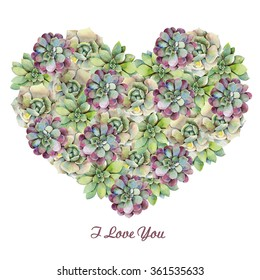 Watercolor heart with succulents. Hand drawn raster illustration