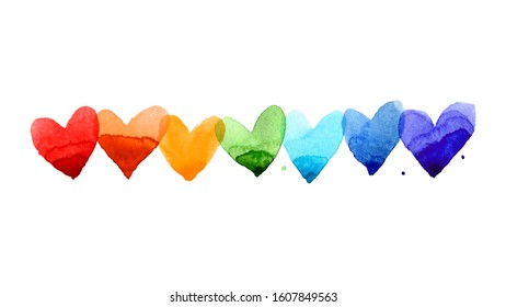 Watercolor hearts colored with rainbow colors. Love and marriage illustration concept on white background. Valentine's Day