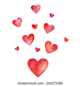 Watercolor hearts, Valentines day greeting card