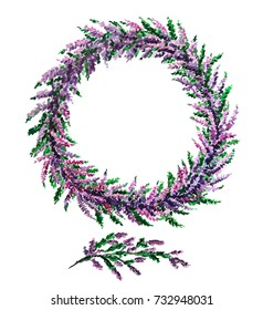 Watercolor heather wreath on white background