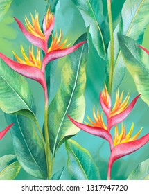 Watercolor heliconia flower. Hand painted seamless pattern design