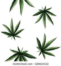 watercolor hemp leaves pattern illustration. Cannabis  seamless texture.