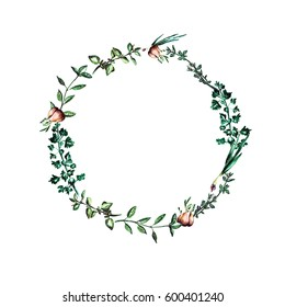 Watercolor herbal wreath with oregano, basil, thyme branches and onion, garlic.