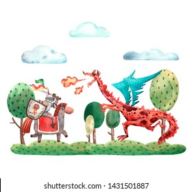 Watercolor heroic card. Illustration of brave knight and scary monster dragon. Fairy tale characters. Medieval history. Mythology of Europe. Festival invitatio card. Saint George illustration.