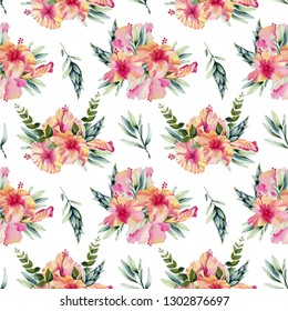 Watercolor hibiscus flowers, branhces and leaves bouquets seamless pattern, hand painted on a white background