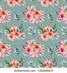 Watercolor hibiscus flowers, branhces and leaves bouquets seamless pattern, hand painted on a blue background