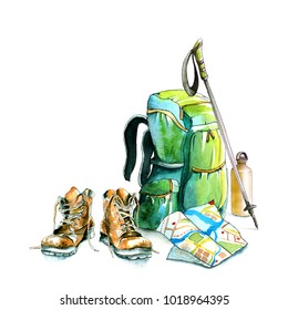 watercolor hiking walking travel set / hiking boots, walking stick, camping backpack, water bottle, map / Hand-drawn watercolor and ink illustration isolated on white background