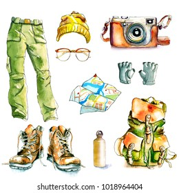 watercolor hiking walking travel set / hiking boots, film camera, glasses, hat, hiking trousers, water bottle, walking gloves, backpack, map / Painted watercolor illustration, isolated