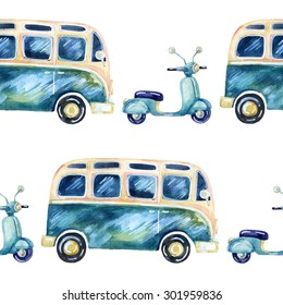 Watercolor hippie camper van and scooter background.  Hand painted seamless pattern