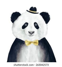 Watercolor hipster panda drawing. Hipster animal.