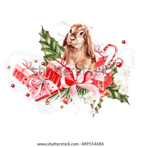 Watercolor Holiday Christmas Card Illustrations Stock Illustration