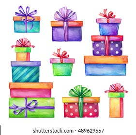 watercolor holiday presents illustration, wrapped gift boxes, birthday party design elements set isolated on white background, festive clip art