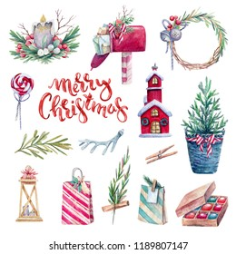 Watercolor holiday set of traditional and Christmas elements