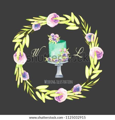 Watercolor Holiday Wedding Cake Green Purple Stock Illustration