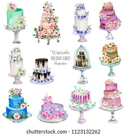Watercolor holiday wedding cakes illustration collection, hand painted isolated on a white background