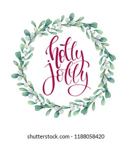 Watercolor holiday wreath of mistletoe with text on a white background