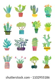 Watercolor home plants. Cute set