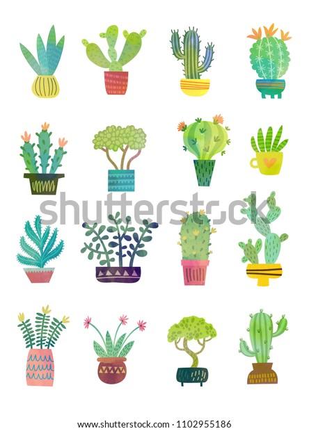 Watercolor home plants. Cute set