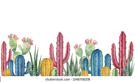 Watercolor horizontal background of landscape with desert and cacti. High quality illustration for travel and tourism.