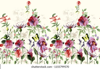 watercolor horizontal flower border