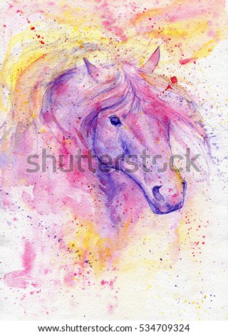 Watercolor Horse Head Hand Painted Colorful Stock Illustration