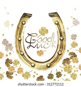 Watercolor horseshoes in golden color with clover design. Talisman for good luck. Design elements isolated on white background. Decorations for Saint Patrick's Day
