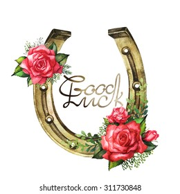 Watercolor horseshoes in golden color with red roses design. Talisman for good luck. Design elements isolated on white background. Decorations for Saint Patrick's Day