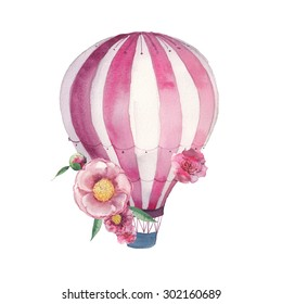 Watercolor hot air balloon with flowers. Hand drawn vintage air balloon, peony, roses, leaves and floral bud. Romantic retro illustration isolated on white background