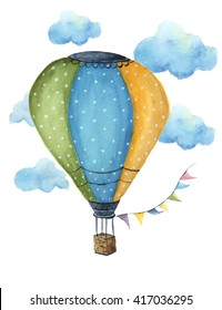 Watercolor hot air balloon set. Hand drawn vintage air balloons with flags garlands, clouds, polka dot pattern and retro design. Illustrations isolated. For design, print and background