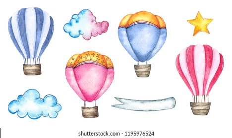 Watercolor hot air balloons set isolated on white background