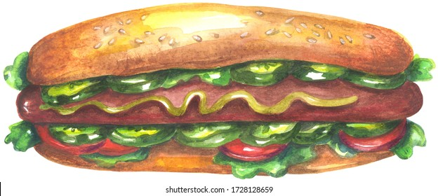 Watercolor hot dog. Painting isolated on white background.