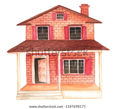 Watercolor House Clipart Illustration Stock Illustration 1187698171