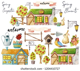 Watercolor house with flowering trees, flowers, Easter eggs and bunny and additional elements. Set of separate elements and spring composition on a white background. Raster illustration.