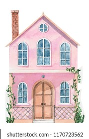 watercolor houses illustration