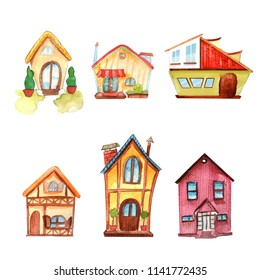 watercolor houses for illustrations and infografics