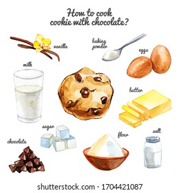 """Watercolor """"How to cook cookie with chocolate chips"""" hand drawn illustration isolated on white background. Recipe and ingredients."""