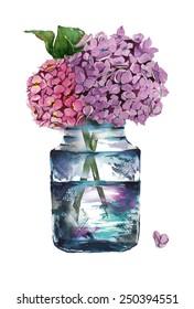 Watercolor hydrangeas in a glass bottle