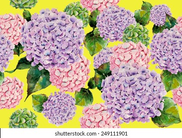 Watercolor hydrangeas on a yellow background