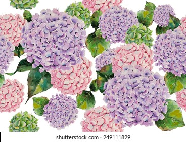 Watercolor hydrangeas pattern on a white background