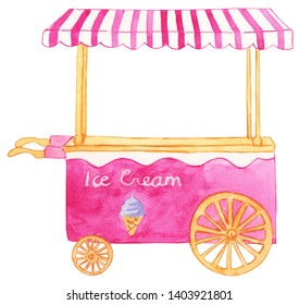 Watercolor Ice Cream Cart Illustration, Ice Cream Cart Clipart