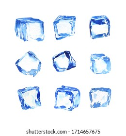Watercolor ice cube clipart. Frozen ice cubes for cocktail. High-quality summer clipart, wedding invitation, suitable for menu, beach party, cocktails, cards
