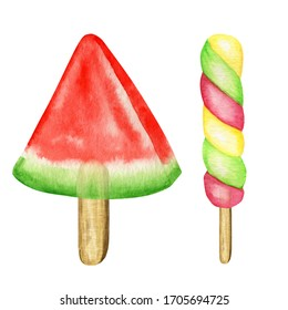 Watercolor Ice lollys colored set. Bright Color fruity collection of frozen popsicles. Watermelone, Kiwi, cherry, banana. Summer concept. Ice cream isolated illustration on white background