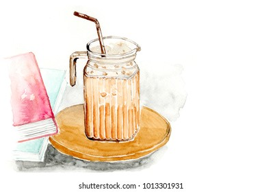 Watercolor ice tea latte or Thai milk tea in clear cup or jar with brown straw on wooden plate and books on white background, isolate