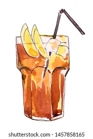 Watercolor iced iced coffee  on white background