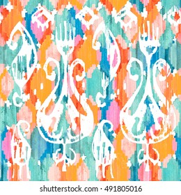 Watercolor ikat vibrant seamless pattern. Trendy tribal pattern in watercolour style.