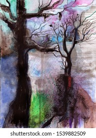 watercolor illustrated trees in the fall