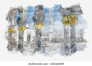 Watercolor illustration about arches on central court of Sheikh Zayed Grand Mosque in Abu Dhabi; UAE. Sheikh Zayed Grand Mosque is the eight largest in the world.