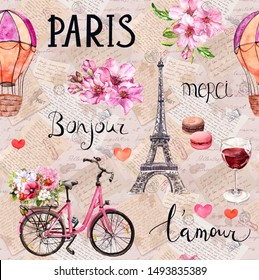 Watercolor illustration about France. Semless pattern with pink flowers, bicycle, wine, macaroons, Eiffel tower, air balloon. French hand written words Paris, L'amour, Mersi, Bonjour on vintage paper